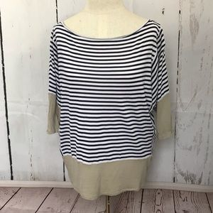 Rachel Roy navy blue & white striped with tan
